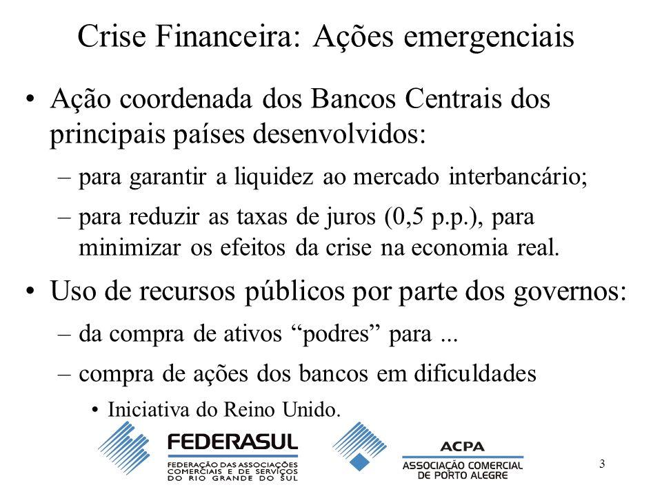 3 Crise Financeira: Ações emergenciais Ação coordenada dos Bancos Centrais dos principais países desenvolvidos: –para garantir a liquidez ao mercado interbancário; –para reduzir as taxas de juros (0,5 p.p.), para minimizar os efeitos da crise na economia real.