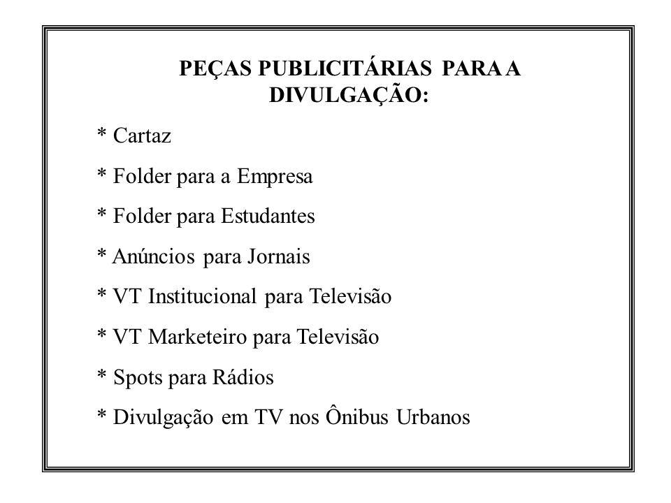 PEÇAS PUBLICITÁRIAS PARA A DIVULGAÇÃO: * Cartaz * Folder para a Empresa * Folder para Estudantes * Anúncios para Jornais * VT Institucional para Telev