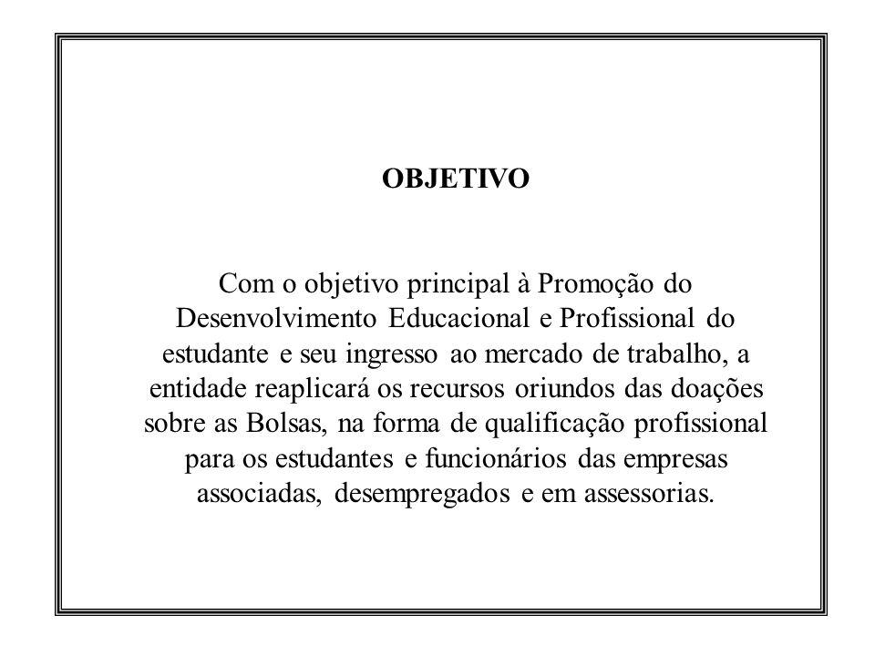 OBJETIVO Com o objetivo principal à Promoção do Desenvolvimento Educacional e Profissional do estudante e seu ingresso ao mercado de trabalho, a entid