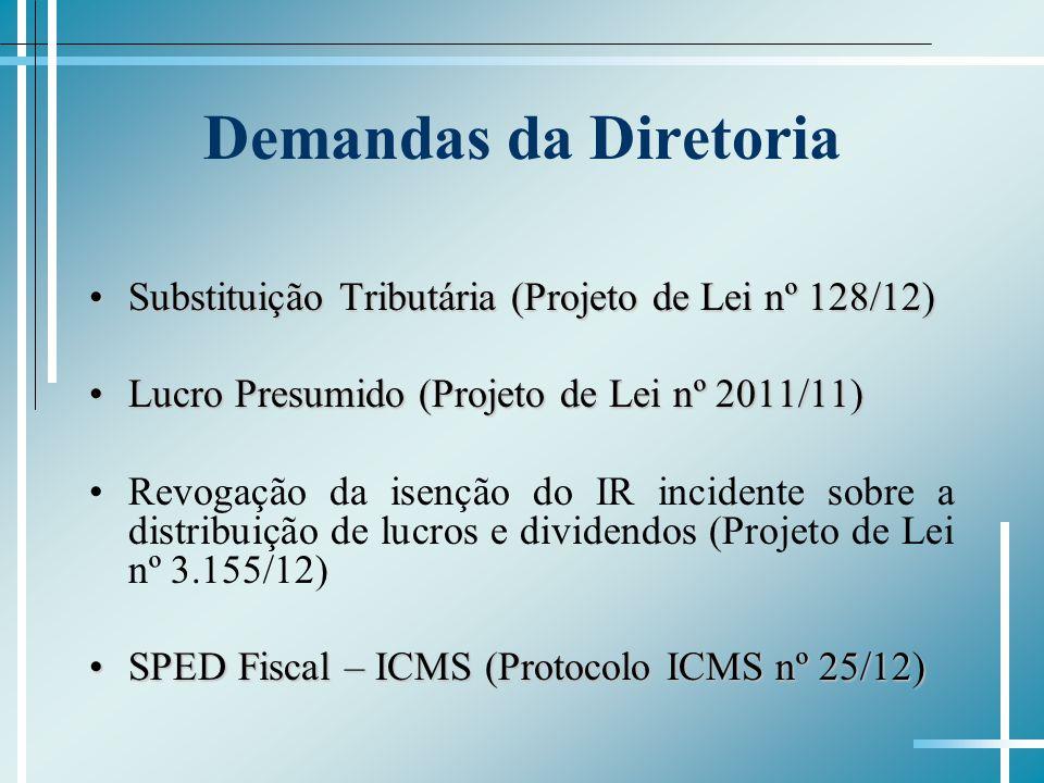 Demandas da Diretoria Substituição Tributária (Projeto de Lei nº 128/12)Substituição Tributária (Projeto de Lei nº 128/12) Lucro Presumido (Projeto de Lei nº 2011/11)Lucro Presumido (Projeto de Lei nº 2011/11) Revogação da isenção do IR incidente sobre a distribuição de lucros e dividendos (Projeto de Lei nº 3.155/12) SPED Fiscal – ICMS (Protocolo ICMS nº 25/12)SPED Fiscal – ICMS (Protocolo ICMS nº 25/12)