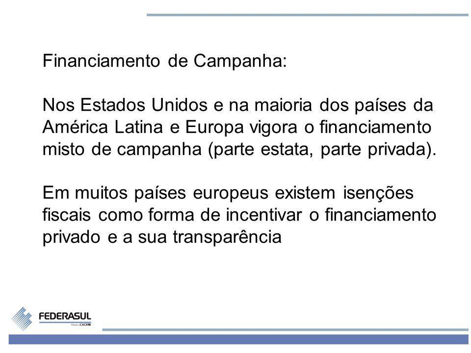 14 Financiamento de Campanha: Nos Estados Unidos e na maioria dos países da América Latina e Europa vigora o financiamento misto de campanha (parte es