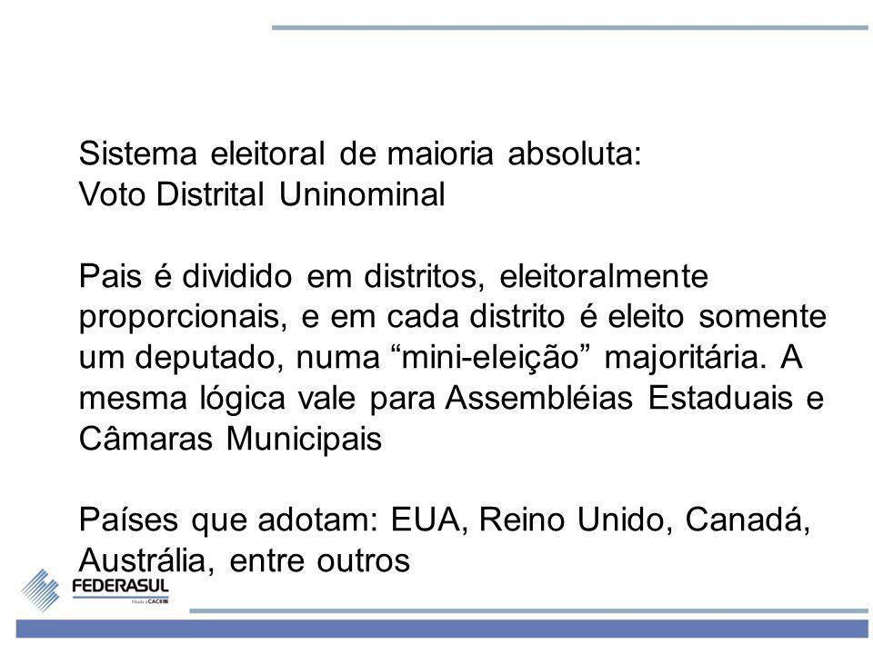 2 Sistema eleitoral de maioria absoluta: Voto Distrital Uninominal Pais é dividido em distritos, eleitoralmente proporcionais, e em cada distrito é el