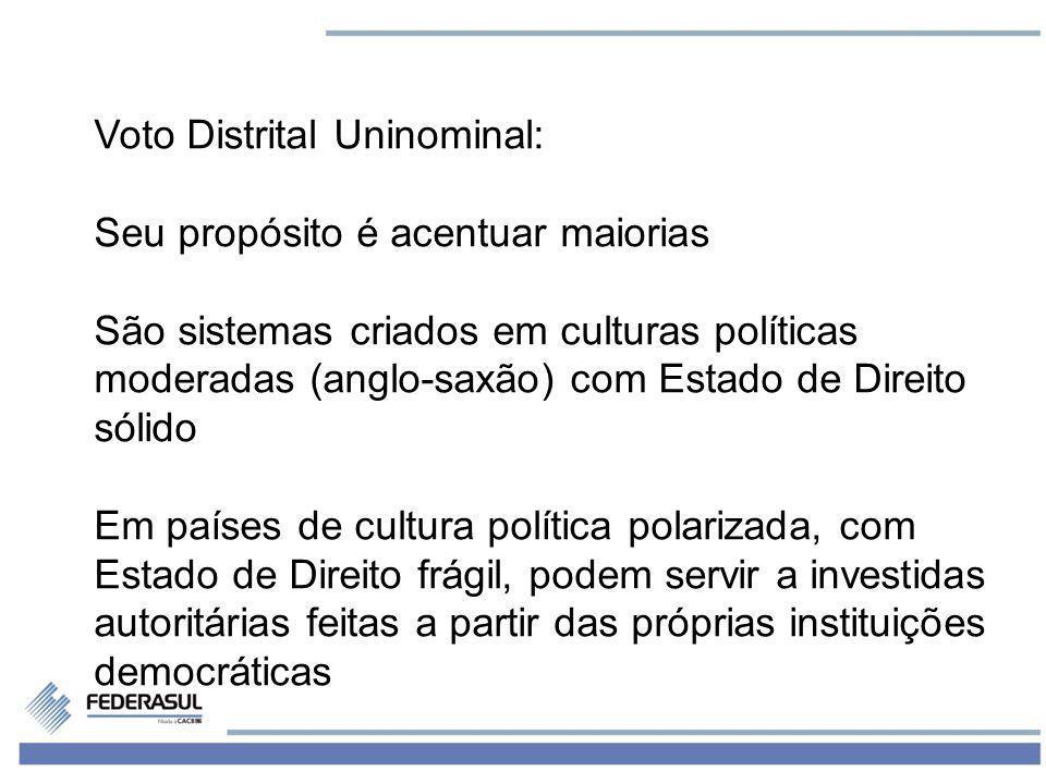 6 Voto Distrital Uninominal: Seu propósito é acentuar maiorias São sistemas criados em culturas políticas moderadas (anglo-saxão) com Estado de Direit