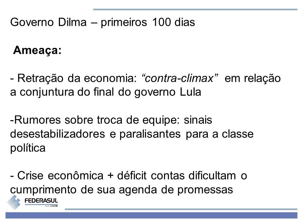 5 Governo Dilma – primeiros 100 dias Ameaça: - Retração da economia: contra-climax em relação a conjuntura do final do governo Lula -Rumores sobre tro