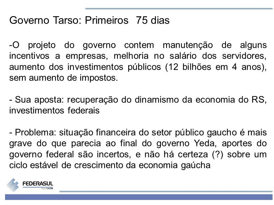 7 Governo Tarso: Primeiros 75 dias -O projeto do governo contem manutenção de alguns incentivos a empresas, melhoria no salário dos servidores, aument