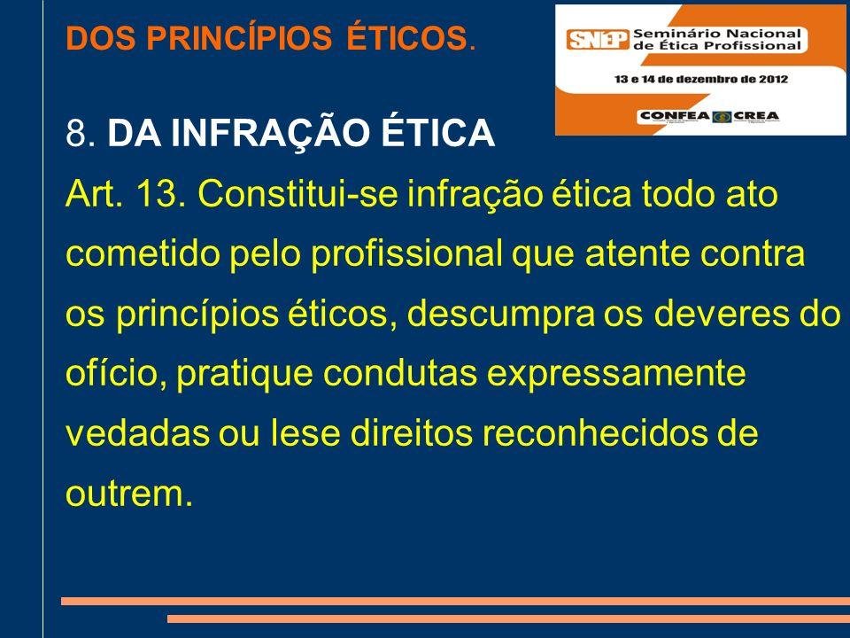 DOS PRINCÍPIOS ÉTICOS.8. DA INFRAÇÃO ÉTICA Art. 13.