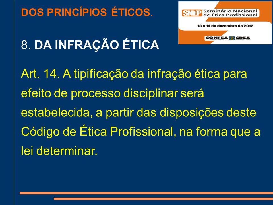 DOS PRINCÍPIOS ÉTICOS.8. DA INFRAÇÃO ÉTICA Art. 14.