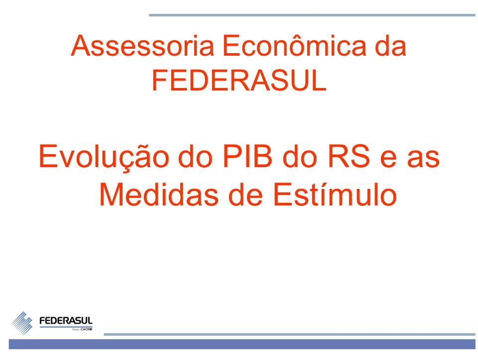 1 Assessoria Econômica da FEDERASUL Evolução do PIB do RS e as Medidas de Estímulo