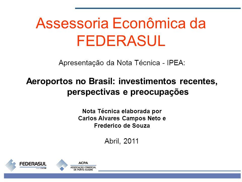 1 Apresentação da Nota Técnica - IPEA: Aeroportos no Brasil: investimentos recentes, perspectivas e preocupações Nota Técnica elaborada por Carlos Alv