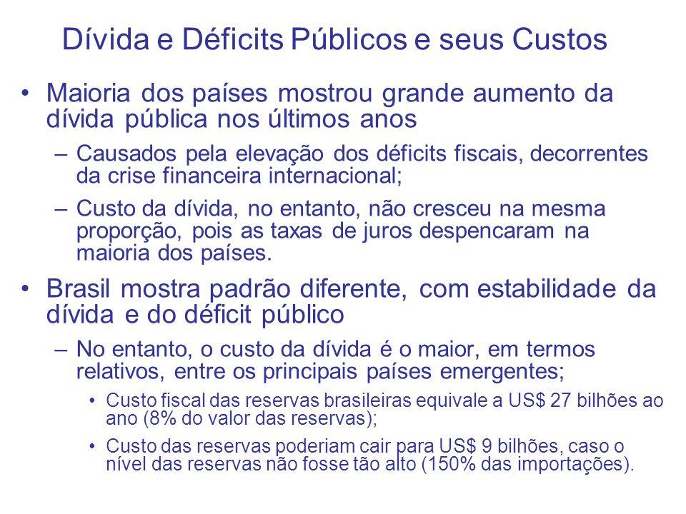 Dívida e Déficits Públicos e seus Custos Maioria dos países mostrou grande aumento da dívida pública nos últimos anos –Causados pela elevação dos défi