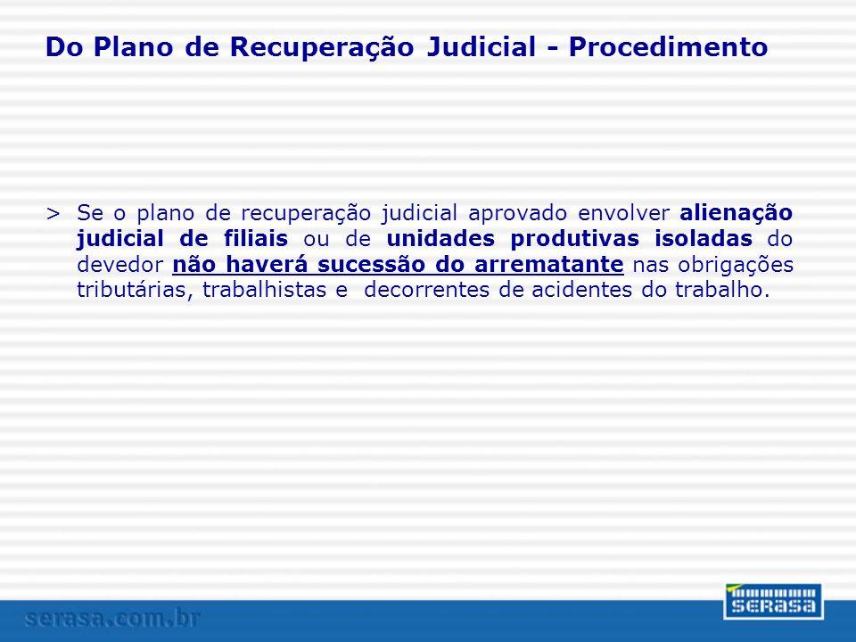 Do Plano de Recuperação Judicial - Procedimento >Se o plano de recuperação judicial aprovado envolver alienação judicial de filiais ou de unidades pro