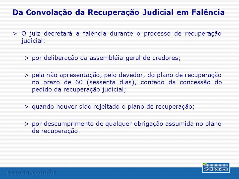 Da Convolação da Recuperação Judicial em Falência >O juiz decretará a falência durante o processo de recuperação judicial: >por deliberação da assembl