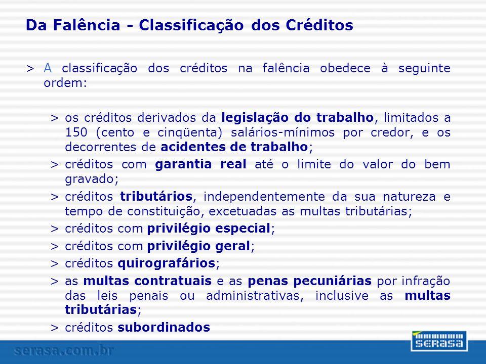 Da Falência - Classificação dos Créditos >A classificação dos créditos na falência obedece à seguinte ordem: >os créditos derivados da legislação do t