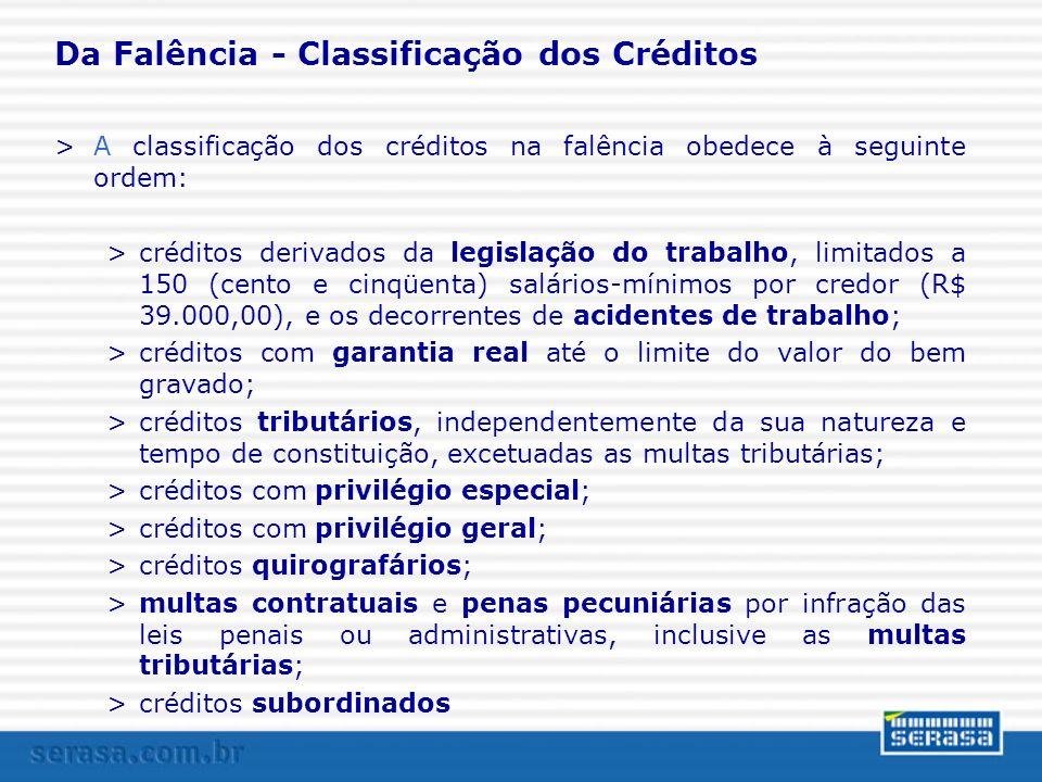 Da Falência - Classificação dos Créditos >A classificação dos créditos na falência obedece à seguinte ordem: >créditos derivados da legislação do trab