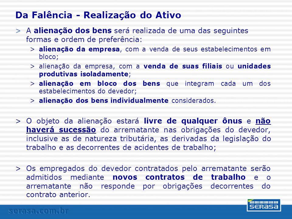Da Falência - Realização do Ativo >A alienação dos bens será realizada de uma das seguintes formas e ordem de preferência: >alienação da empresa, com