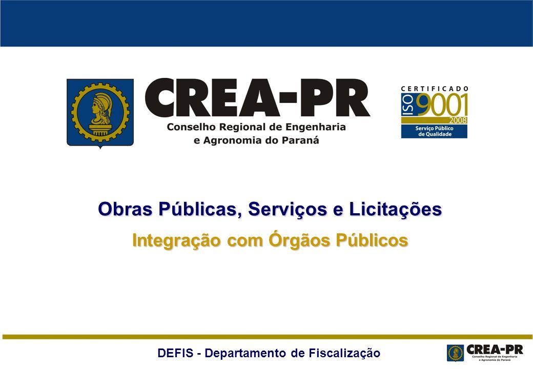 DEFIS - Departamento de Fiscalização Excelência na gestão e fiscalização de obras públicas, serviços públicos e licitações Integração com órgãos públicos Avaliação: oportunidades de melhoria Objetivos