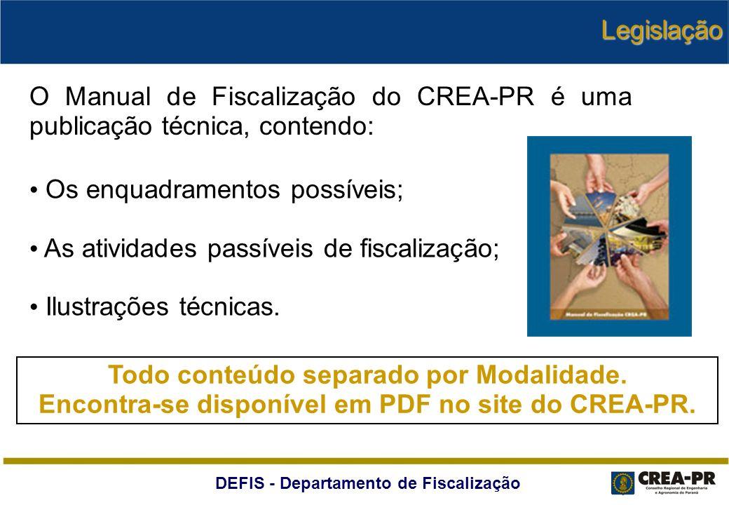 DEFIS - Departamento de Fiscalização O Manual de Fiscalização do CREA-PR é uma publicação técnica, contendo: Os enquadramentos possíveis; As atividade