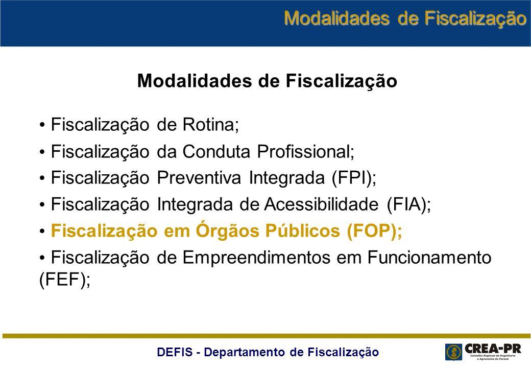 DEFIS - Departamento de Fiscalização Modalidades de Fiscalização Fiscalização de Rotina; Fiscalização da Conduta Profissional; Fiscalização Preventiva