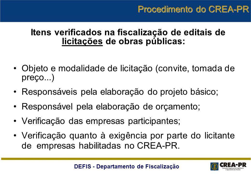 DEFIS - Departamento de Fiscalização Itens verificados na fiscalização de editais de licitações de obras públicas: Objeto e modalidade de licitação (c