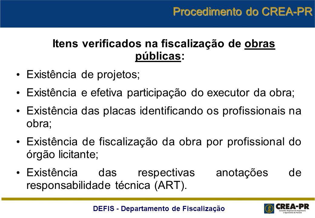 DEFIS - Departamento de Fiscalização Itens verificados na fiscalização de obras públicas: Existência de projetos; Existência e efetiva participação do
