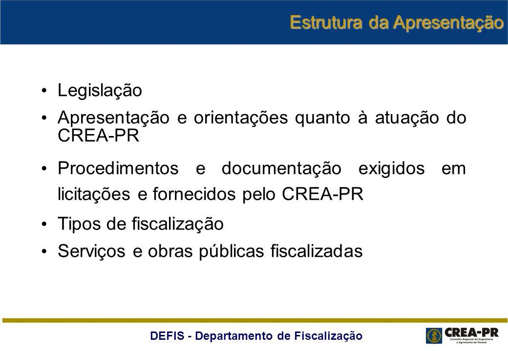 DEFIS - Departamento de Fiscalização PROJ.BÁSICO LICITAÇÃO HOMOLOGAÇÃO EXECUÇÃO FISCALIZAÇÃO TEMPO SOLICITAÇÃO DE CERTIDÃO DE REGISTRO NO CREA-PR (PF OU PJ) PROJETOS, PLACAS E ARTs DE PROJETOS, EXECUÇÃO E DE FISCALIZAÇÃO PARTICIPAÇÃO DE PROFISSIONAL E ART DAS ATIVIDADES EXECUTADAS (ORÇAMENTO, PROJ.