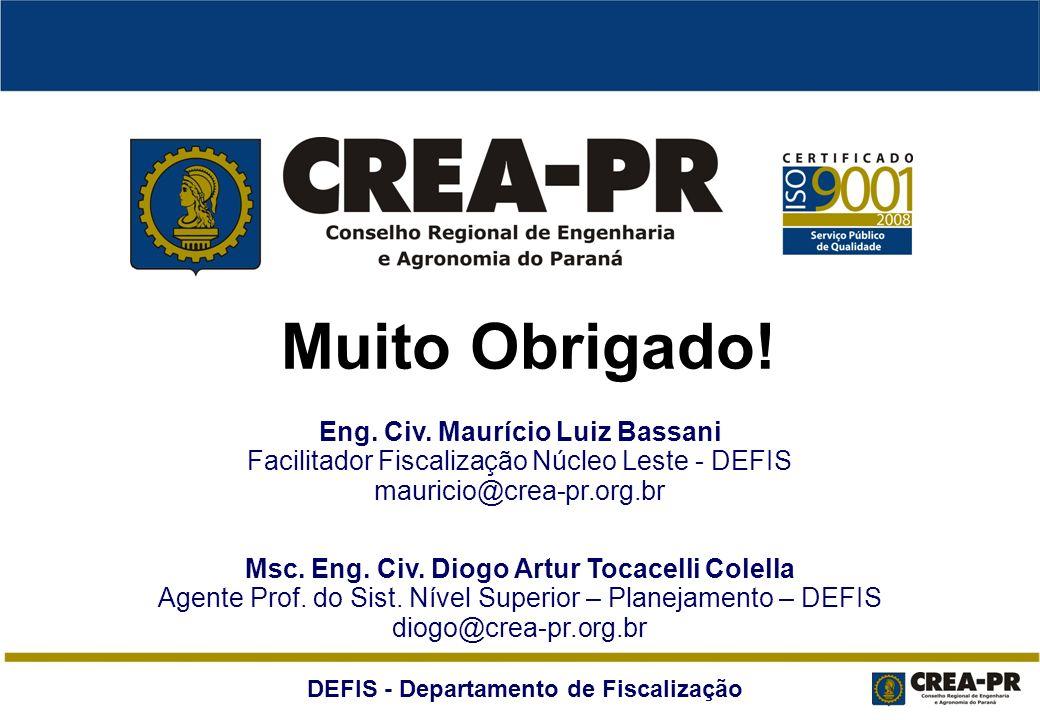DEFIS - Departamento de Fiscalização Muito Obrigado! Msc. Eng. Civ. Diogo Artur Tocacelli Colella Agente Prof. do Sist. Nível Superior – Planejamento