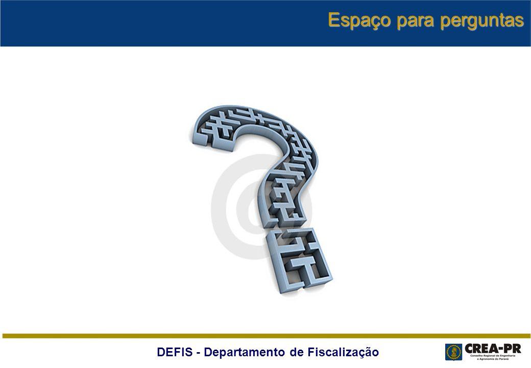 DEFIS - Departamento de Fiscalização Espaço para perguntas