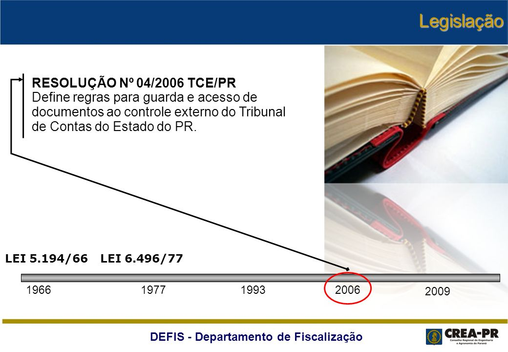 DEFIS - Departamento de Fiscalização RESOLUÇÃO Nº 04/2006 TCE/PR Define regras para guarda e acesso de documentos ao controle externo do Tribunal de C