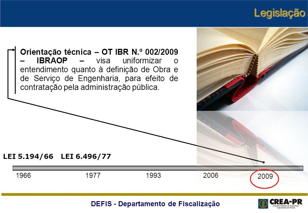 DEFIS - Departamento de Fiscalização Orientação técnica – OT IBR N.º 002/2009 – IBRAOP – visa uniformizar o entendimento quanto à definição de Obra e