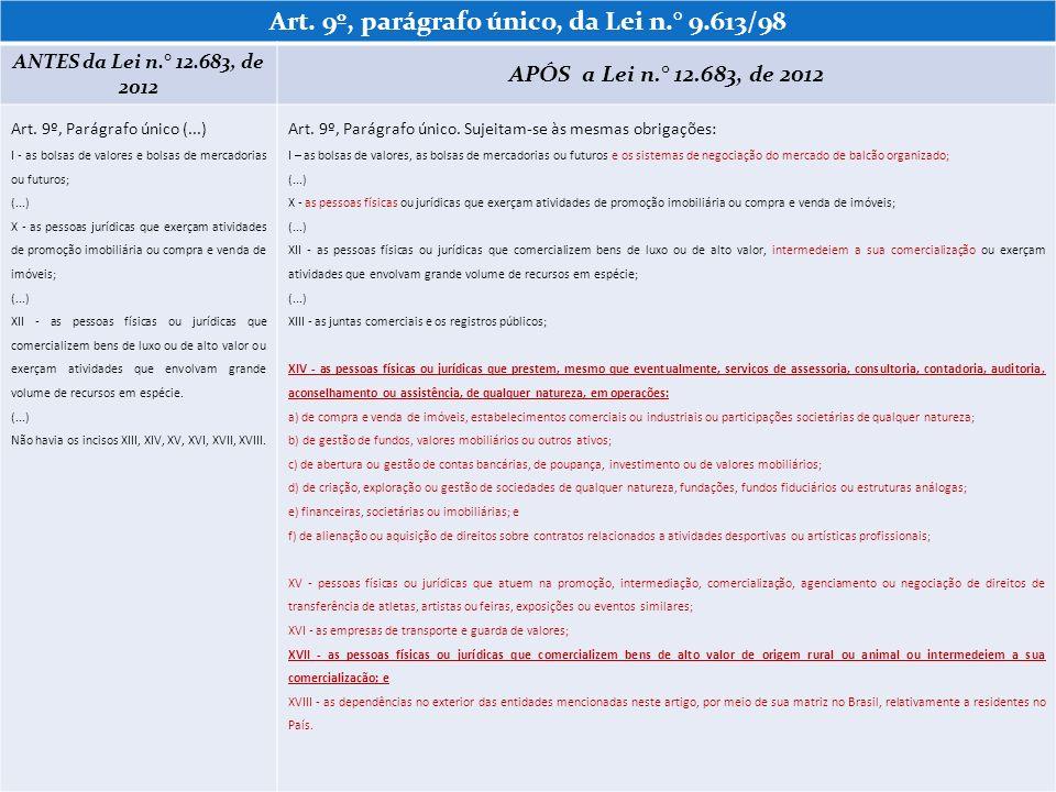 Art. 9º, parágrafo único, da Lei n.° 9.613/98 ANTES da Lei n.° 12.683, de 2012 APÓS a Lei n.° 12.683, de 2012 Art. 9º, Parágrafo único (...) I - as bo