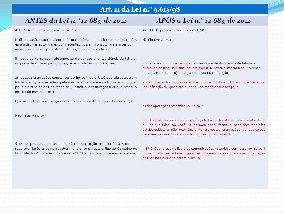 Art. 11 da Lei n.° 9.613/98 ANTES da Lei n.° 12.683, de 2012APÓS a Lei n.° 12.683, de 2012 Art. 11. As pessoas referidas no art. 9º: I - dispensarão e