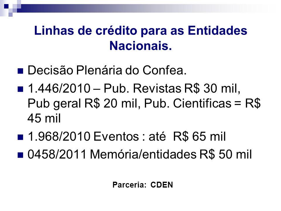 Linhas de crédito para as Entidades Nacionais. Parceria: CDEN Decisão Plenária do Confea. 1.446/2010 – Pub. Revistas R$ 30 mil, Pub geral R$ 20 mil, P