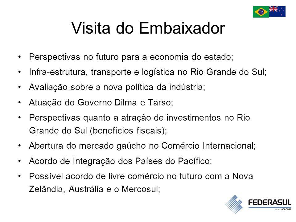 Visita do Embaixador O comércio de mercadorias entre a Nova Zelândia e o Brasil ainda é modesto, com a balança comercial favorável ao Brasil.