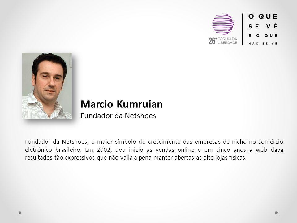 Marcio Kumruian Fundador da Netshoes Fundador da Netshoes, o maior símbolo do crescimento das empresas de nicho no comércio eletrônico brasileiro. Em