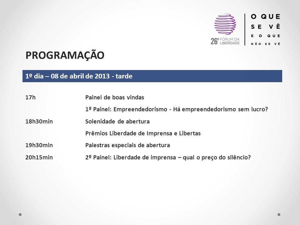 PROGRAMAÇÃO 2º dia – 09 de abril de 2013 9h30min3º Painel: Segurança pública – qual o custo da insegurança.