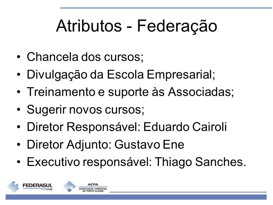 Atributos - Federação Chancela dos cursos; Divulgação da Escola Empresarial; Treinamento e suporte às Associadas; Sugerir novos cursos; Diretor Respon