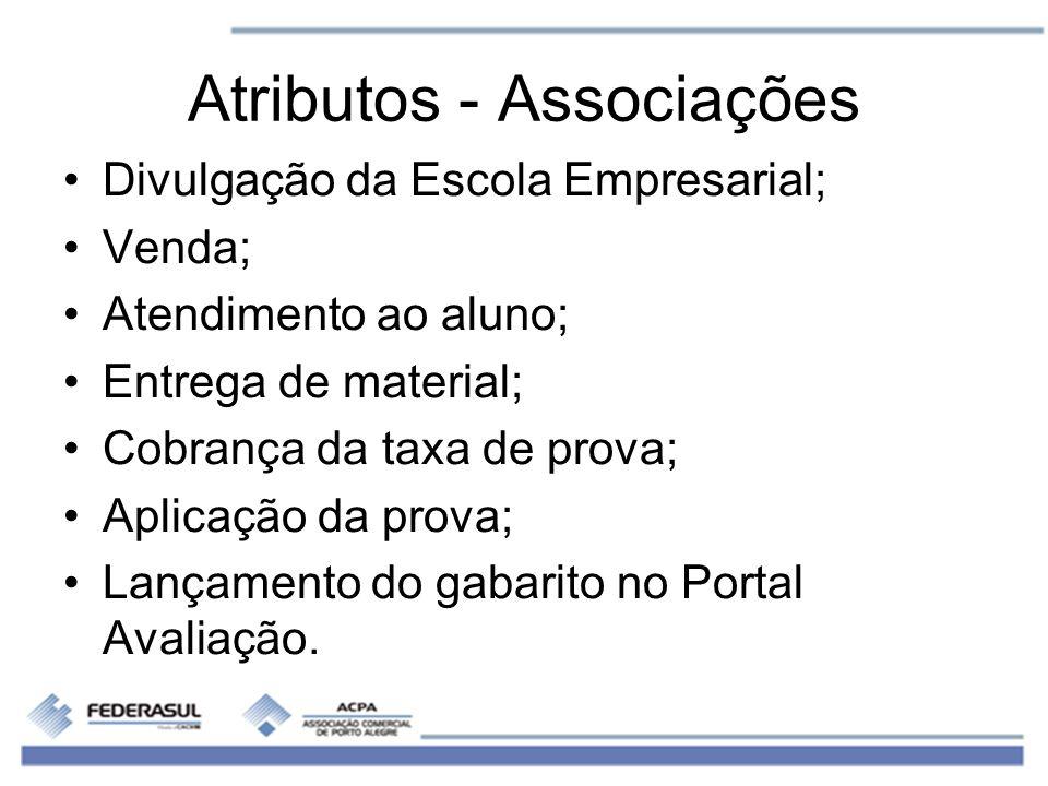 Atributos - Associações Divulgação da Escola Empresarial; Venda; Atendimento ao aluno; Entrega de material; Cobrança da taxa de prova; Aplicação da pr