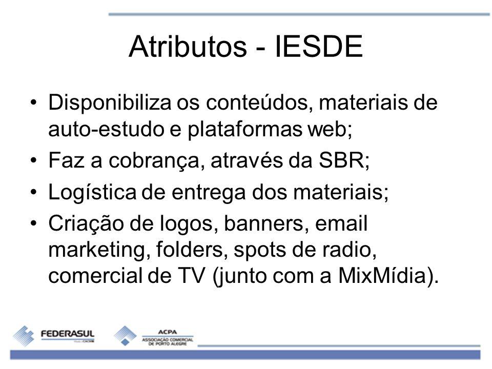 Atributos - IESDE Disponibiliza os conteúdos, materiais de auto-estudo e plataformas web; Faz a cobrança, através da SBR; Logística de entrega dos mat