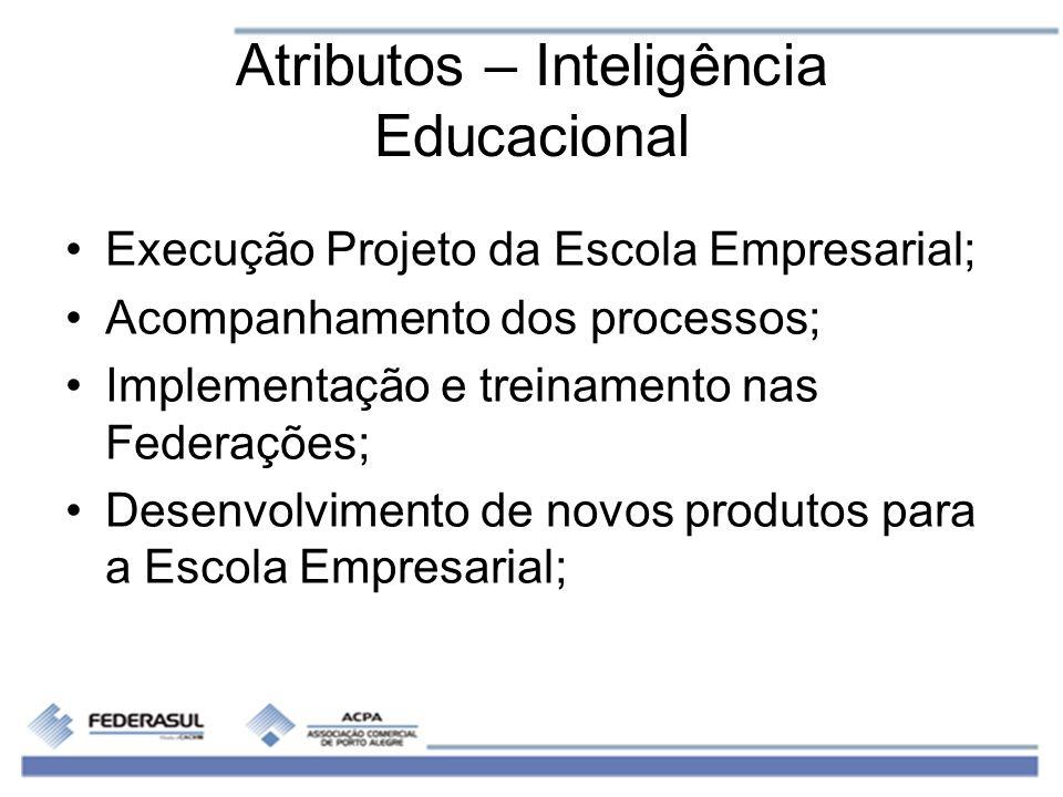 Atributos – Inteligência Educacional Execução Projeto da Escola Empresarial; Acompanhamento dos processos; Implementação e treinamento nas Federações;