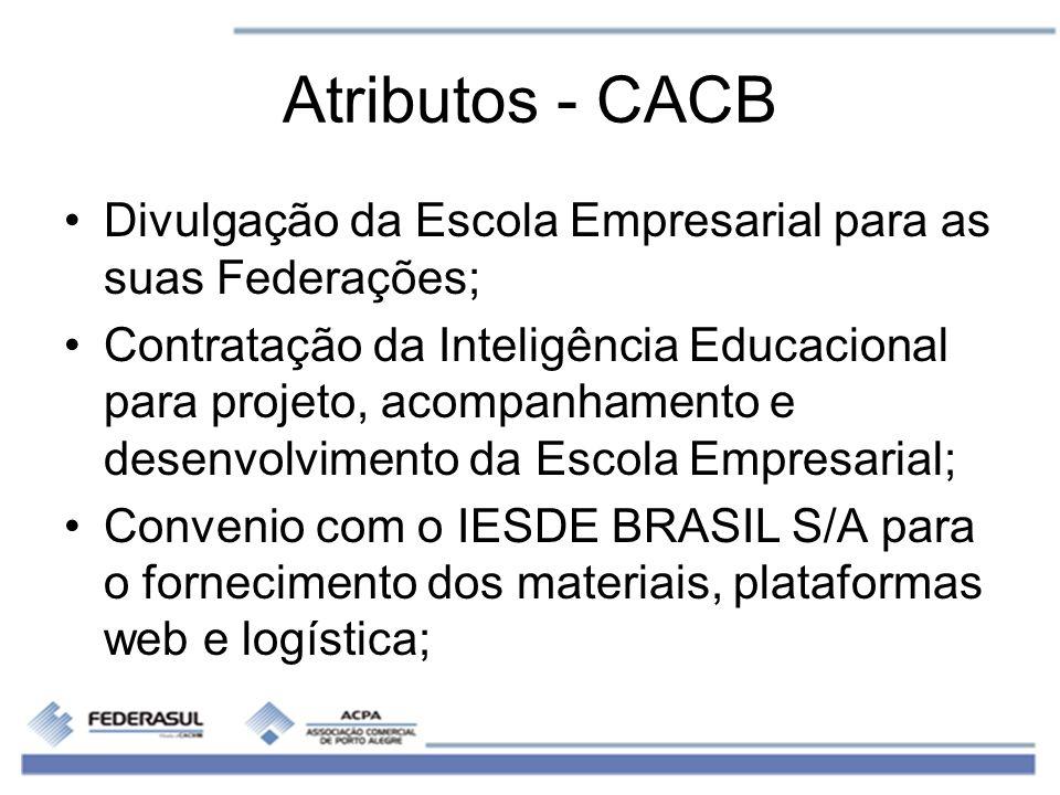 Atributos - CACB Divulgação da Escola Empresarial para as suas Federações; Contratação da Inteligência Educacional para projeto, acompanhamento e dese