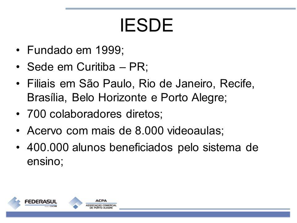 IESDE Fundado em 1999; Sede em Curitiba – PR; Filiais em São Paulo, Rio de Janeiro, Recife, Brasília, Belo Horizonte e Porto Alegre; 700 colaboradores