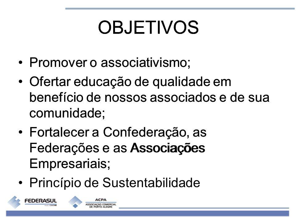 OBJETIVOS Promover o associativismo; Ofertar educação de qualidade em benefício de nossos associados e de sua comunidade; Fortalecer a Confederação, a