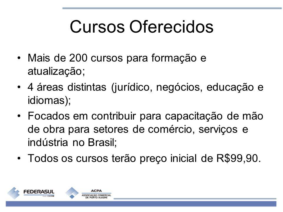 Cursos Oferecidos Mais de 200 cursos para formação e atualização; 4 áreas distintas (jurídico, negócios, educação e idiomas); Focados em contribuir pa