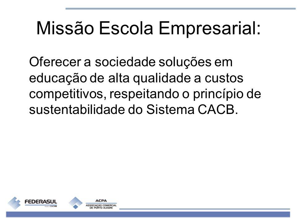 Missão Escola Empresarial: Oferecer a sociedade soluções em educação de alta qualidade a custos competitivos, respeitando o princípio de sustentabilid