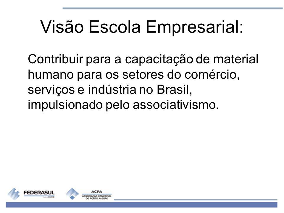 Visão Escola Empresarial: Contribuir para a capacitação de material humano para os setores do comércio, serviços e indústria no Brasil, impulsionado p