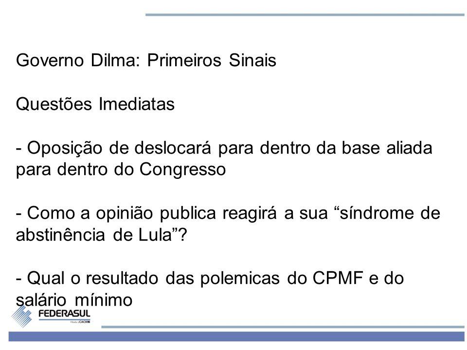 4 Governo Dilma: Primeiros Sinais Questões Imediatas - Oposição de deslocará para dentro da base aliada para dentro do Congresso - Como a opinião publica reagirá a sua síndrome de abstinência de Lula.