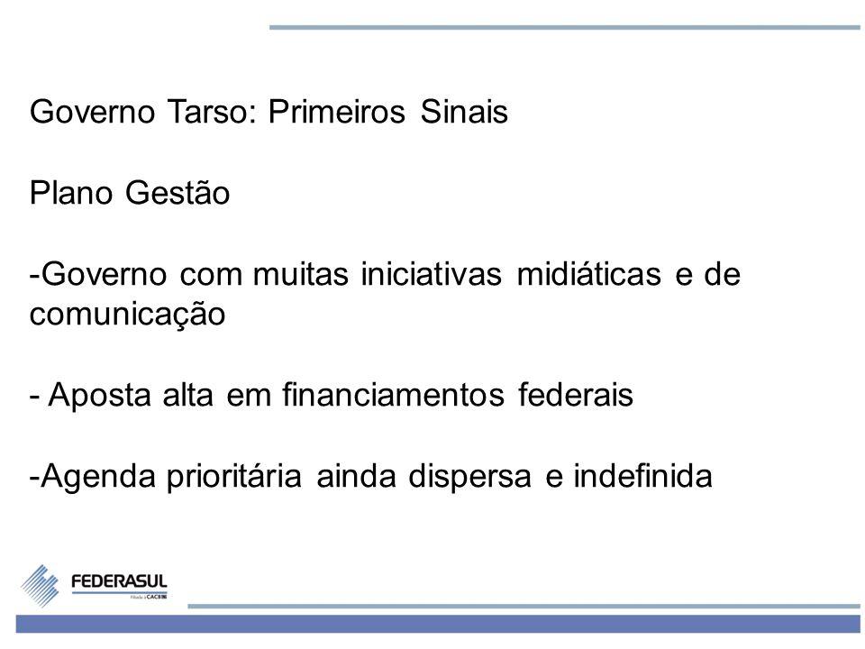 6 Governo Tarso: Primeiros Sinais Plano Gestão -Governo com muitas iniciativas midiáticas e de comunicação - Aposta alta em financiamentos federais -Agenda prioritária ainda dispersa e indefinida