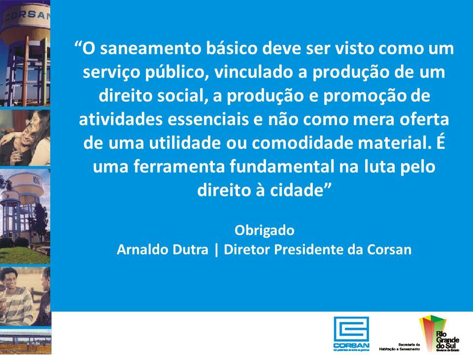O saneamento básico deve ser visto como um serviço público, vinculado a produção de um direito social, a produção e promoção de atividades essenciais