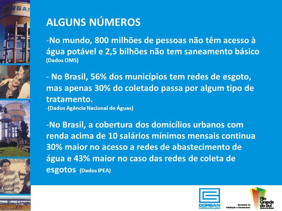 ALGUNS NÚMEROS -No mundo, 800 milhões de pessoas não têm acesso à água potável e 2,5 bilhões não tem saneamento básico (Dados OMS) - No Brasil, 56% do