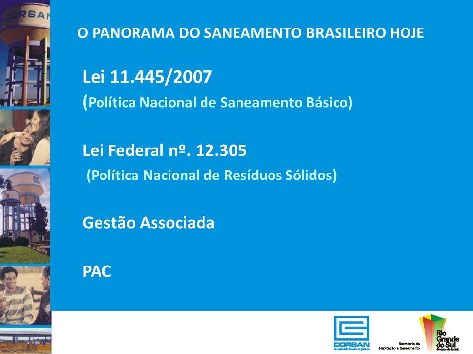 O PANORAMA DO SANEAMENTO BRASILEIRO HOJE Lei 11.445/2007 ( Política Nacional de Saneamento Básico) Lei Federal nº. 12.305 (Política Nacional de Resídu
